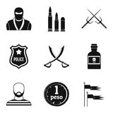 Military equipment icons set, simple style. Military equipment icons set. Simple set of 9 military equipment vector icons for web isolated on white background Stock Photography