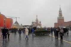 Military equipment on the Red Square in Moscow Stock Image