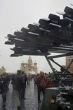 Military equipment on the Red Square in Moscow stock photo