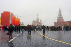 Military equipment on the Red Square in Moscow Stock Images