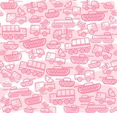 Military equipment, rose white seamless background. Vector seamless background with military equipment on a white field with pink spots. Pink, linear icons Stock Photo