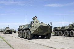 Military equipment in the same formation Stock Photography