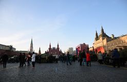 Military equipment of Second World War shown on the Red Square in Moscow stock images