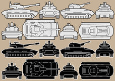 Military Equipment. Set of Armored Battle Tanks Stock Photo