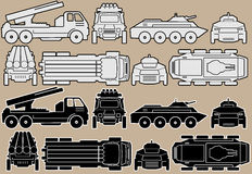 Military Equipment Set of Combat Vehicles Vector. Military Equipment. Set of Armored Combat Vehicles. Isolated Vector Images Royalty Free Stock Photography
