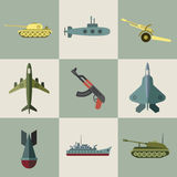 Military equipment and weaponry flat icons Royalty Free Stock Images