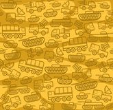 Military equipment, yellow seamless background. Vector seamless background with military equipment on field with yellow spots. Brown, linear icons. Color, flat Royalty Free Stock Photography