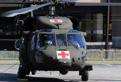 Military evacuation helicopter stock photo