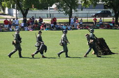 July 1st 2014 Sherwood Park Alberta Canada. Military performing war time re-enactments royalty free stock images