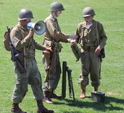 Military performing  war time re-enactments Royalty Free Stock Photo