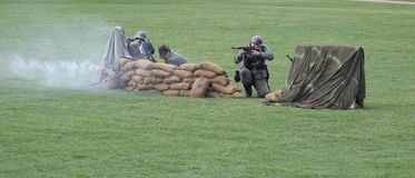 Military performing  war time re-enactments Stock Images