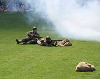 July 1st 2014 Sherwood Park Alberta Canada. Military performing war time re-enactments stock image