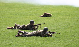 Military performing  war time re-enactments Stock Photos