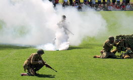Military performing  war time re-enactments Royalty Free Stock Photography