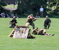 Military performing  war time re-enactments Royalty Free Stock Photos