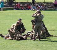 Military performing war time re-enactments Royalty Free Stock Image