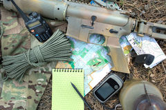 Military exploration set in the wood Stock Images