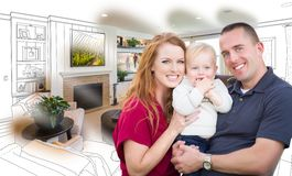 Military Family In Front of Living Room Drawing Photo Combination stock photo