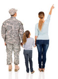 Military family pointing Royalty Free Stock Image