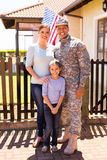 Military family standing together Stock Images