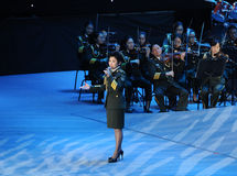 Military famous singer Dong Wenhua-theFamous and classicconcert Royalty Free Stock Photos