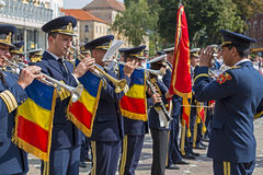 Military fanfare playing at trumpet Royalty Free Stock Photography