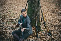 Military fashion. achievements of goals. girl with rifle. chase hunting. Gun shop. successful hunt. hunting sport. woman. With weapon. Target shot. hunter in stock photography