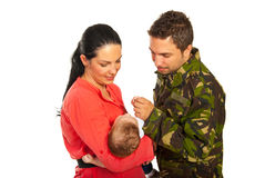 Military father first meeting with his son royalty free stock image