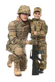 Military Father and Son. Isolated on white background royalty free stock images