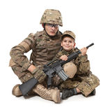 Military Father and Son. Isolated on white background royalty free stock photo