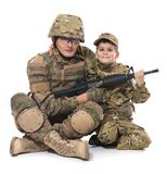 Military Father and Son. Isolated on white background stock photography