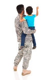 Military father son pointing Royalty Free Stock Photo