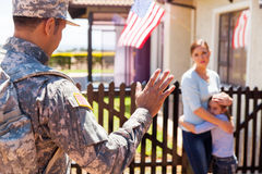 Military father waving goodbye Royalty Free Stock Photography