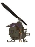 Military female mechanic leaning against chopper. Female military helicopter mechanic taking a break leaning against the chopper Royalty Free Stock Photos