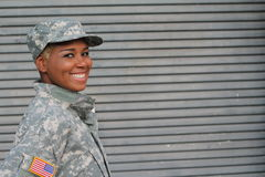 Military female smiling with copy space stock images