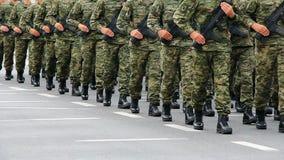 Military festive parade stock footage