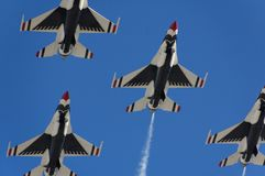 Military fighter aircraft flight demonstration Stock Images