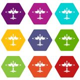 Military fighter aircraft icon set color hexahedron. Military fighter aircraft icon set many color hexahedron isolated on white vector illustration Stock Images