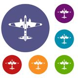 Military fighter aircraft icons set Stock Photography