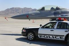 Military Fighter Aircraft Police Car Display Stock Photos