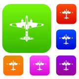 Military fighter aircraft set collection. Military fighter aircraft set icon in different colors isolated vector illustration. Premium collection Royalty Free Stock Images