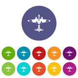 Military fighter aircraft set icons Royalty Free Stock Images