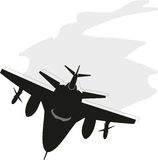 Military fighter - bomber aircraft. Black silhouette of military fighter - bomber aircraft,  XXI century Royalty Free Stock Image