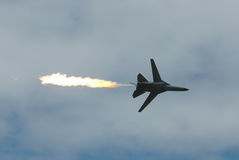 Military Fighter Jet. Image taken of a military jet dumping fuel Royalty Free Stock Image