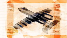 Military Fighter Jet 3D Design Schematic Royalty Free Stock Photos