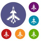 Military fighter jet icons set. In flat circle reb, blue and green color for web Stock Images