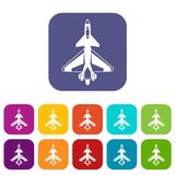 Military fighter jet icons set. Vector illustration in flat style in colors red, blue, green, and other Stock Images