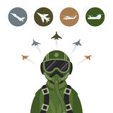 Military Fighter Jet Pilot. With Military Aircraft Icons and Symbols Stock Photography