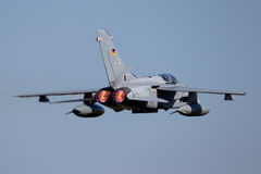 Military fighter jet plane afterburner Royalty Free Stock Image