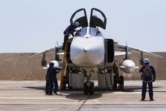 Military fighter jet. Service before flight Stock Photo